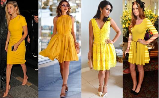 Montagem com fotos de modelos de vestido amarelo social.