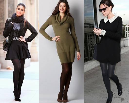Modelos vestem vestido social com meia e sapato.