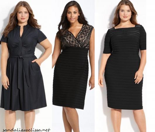 Modelos plus size vestem vestidos em tom de preto, sociais.