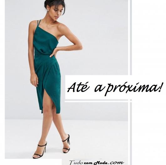 """ilustração final do post, com modelo de vestido verde e escrita ilustrativa em preto """"Até a próxima""""."""