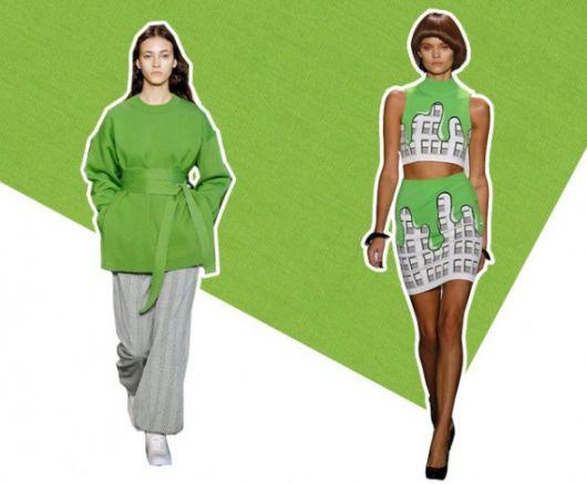montagem com modelos de roupa verde inspirado no desfile da grife lacoste.