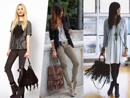 Modelos usam calça, blusas casuais e bolsas de franjas, diferentes modelos.