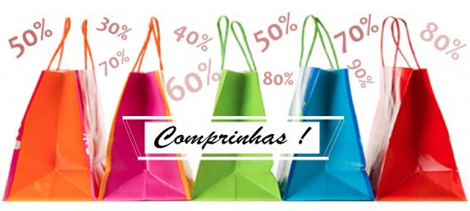 Ilustração com sacolas coloridas de compras.