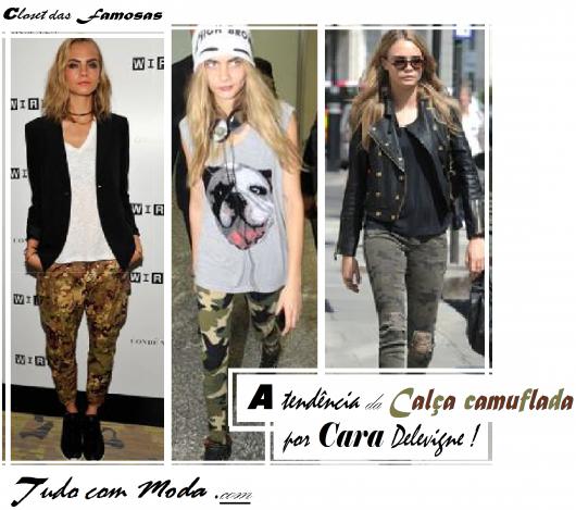 Montagens com looks de calça camuflada da modelo Cara Delevigne.