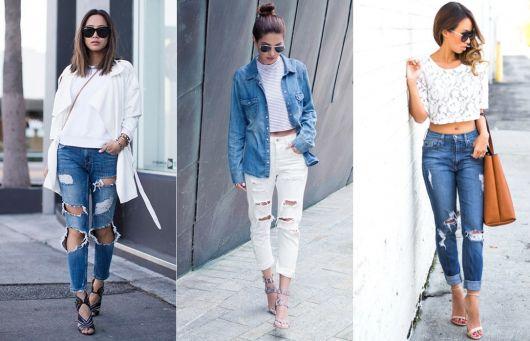 Montagem com diversas ideias de looks com calça cintura alata.