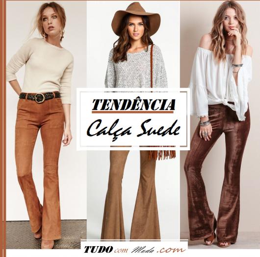 Montagem com modelos de calça suede. e blusinhas brancas.