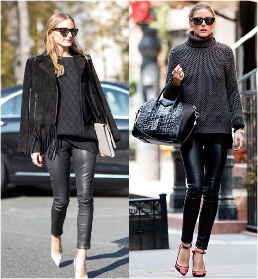 Modelos usam calça de couro preta, scarpin, bolsa e casaco tudo em preto, com óculos escuros.