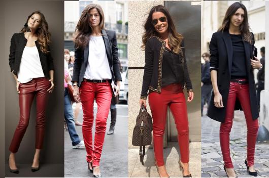 Montagens com modelos de calça de couro vermelha e blazers preto.