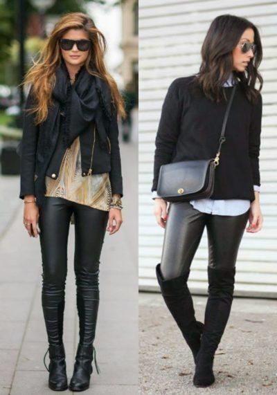 Montagem com modelos de bota de couro, calça preta e blusas no mesmo tom.