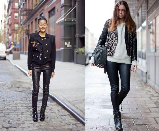 montagem com modelos de bota de couro, calça preta e jaqueta.