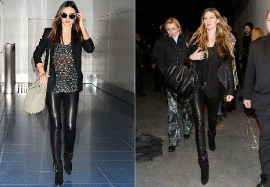 Montagens com mulheres de calça de couro e look todo preto.