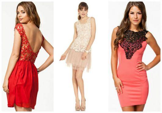 Modelos com vestidos customizados nas cores vermelho, rosa claro e escuro