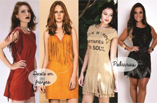 Montagem com vestidos diversos nas cores vermelho, laranja, bege e preto.