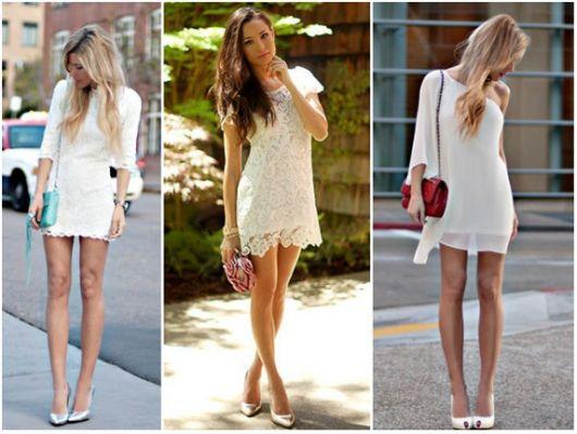Montagem com fotos de vestido branco social curto.