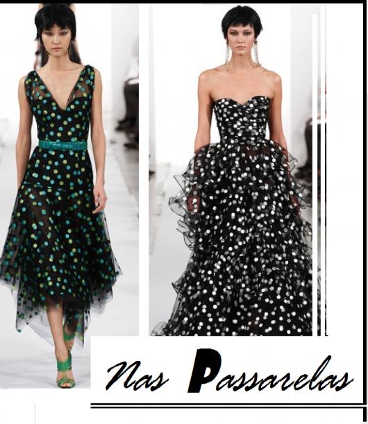 Montagem com modelos de vestidos de bolinhas.
