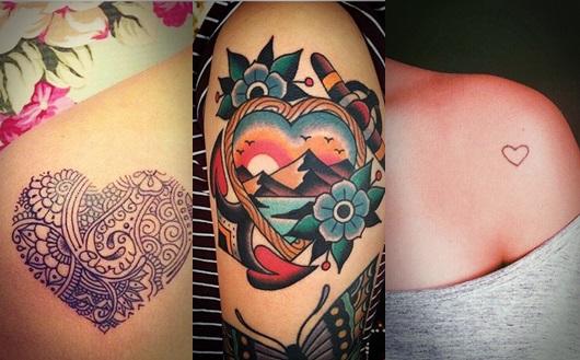 Montagem com três tatuagens de coração no ombro diferentes
