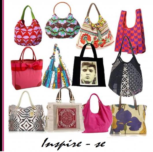 Montagem com vários modelos de bolsa de tecido em diferentes cores.