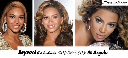 Beyonce usa modelos de brinco de argola nas cores amarelo ouro e prata.