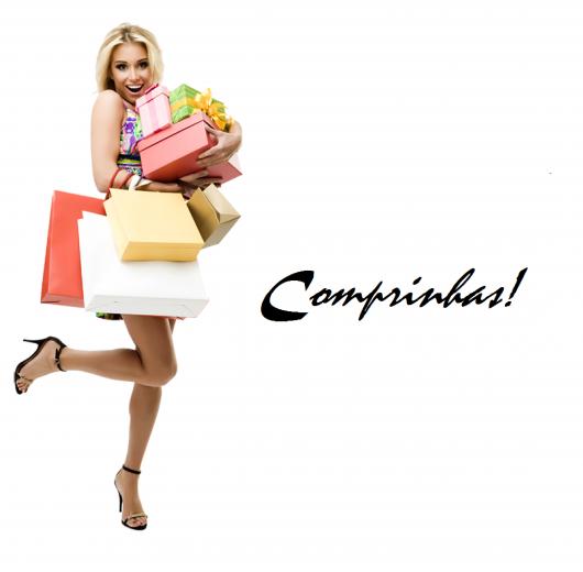 ilustração com mulher cheia de sacolas de compras.