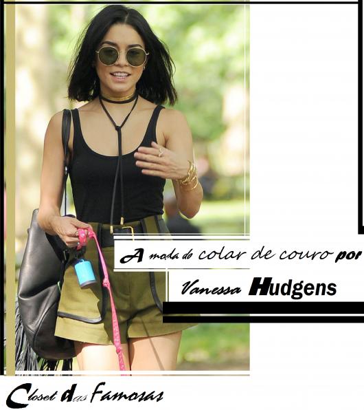 Vanessa Hudgens veste blusa preta de alcinhas finas, colar de couro preto e bolsa de franjas.