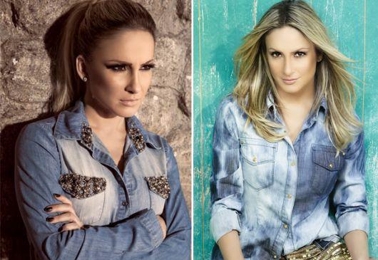 Modelo usa jaqueta jeans customizada em pedras nos bolsos, na cor azul e outra na cor azul claro e forte manchada.