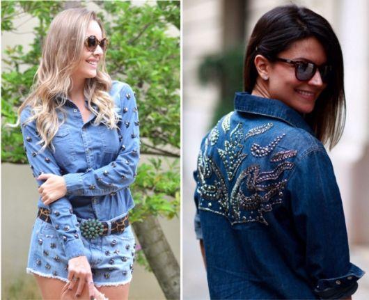 Montagem com modelos de jaqueta jeans customizadas nas costas e nas mangas.