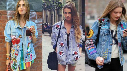 Montagem com modelos com tês diferentes jaquetas customizadas com patches.
