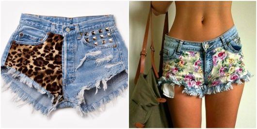 Montagem com modelo de shorts customizados com tecido.