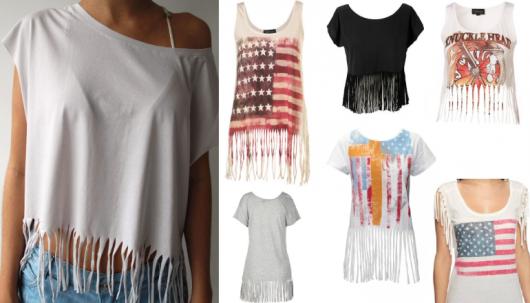 Modelos de blusas customizadas com franjas.