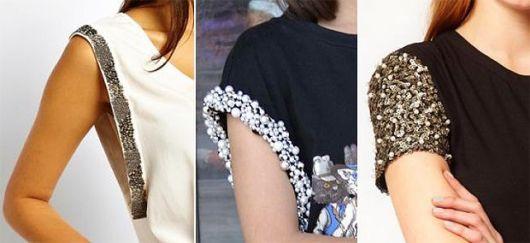 Montagem com modelos de blusas customizadas com pedrarias.