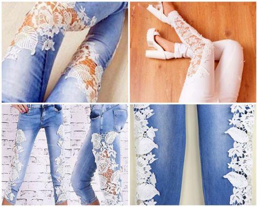 ed64153da Outra ideia super linda de como customizar roupas velhas (calça jeans) com  renda.