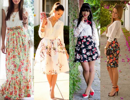 Modelos usam saia estampa floral com camisa e sapatinhos e sapatilhas.