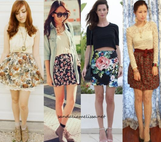 Montagem com modelos de saia floral, blusinhas e sapatos de salto.