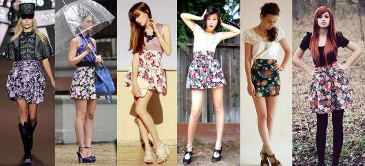 Modelo usa saia estampada floral com blusinhas manga curta e sandalias.