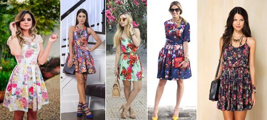 Montagem com modelos de vestidos florais nas cores verde, azul escuro e multi cores.