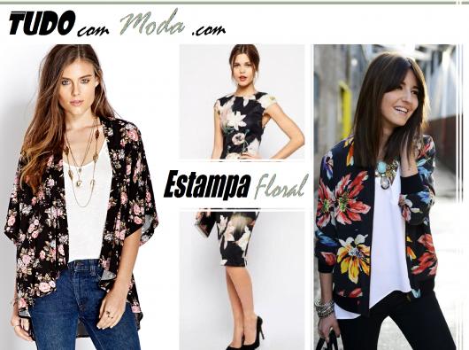montagem com modelos de roupas com estampa floral.