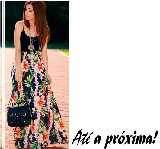 ilustração final com modelo de blusa preta e saia longa estampa floral.