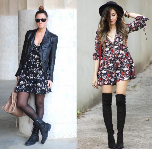 Modelos usam vestido floral escuro com botas.