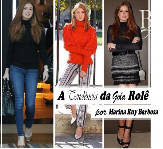 Marina Ruy barbosa veste looks casuais com blusas gola rolê nas cores preto e laranja.