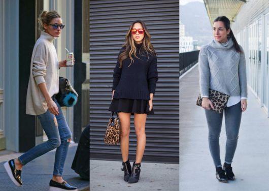Montagem com modelos de blusa gola rolê, saias e calças jeans.