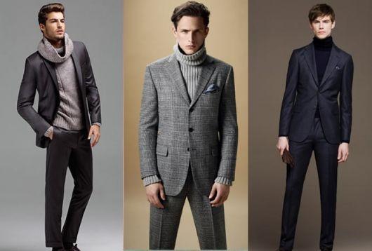 Montagem com modelos de blusa rolê com blazer. e calça