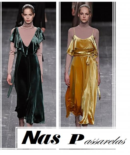 Montagem com modelos de vestido de veludo nas cores, verde e amarelo nas passarelas.