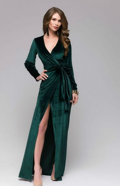 Vestido de veludo verde