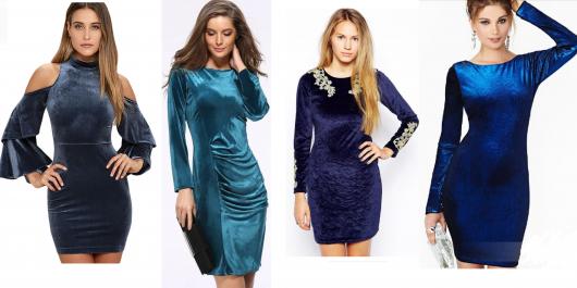 Modelos usam vestido azul manga longa.