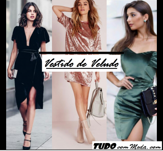 Modelos usam vestidos de veludo na montagem, nas cores preta, rosa e verde.