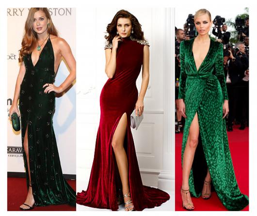 Montagem com modelos de vestido de veludo longo com fenda nas cores verde escuro e claro e vermelho vinho.