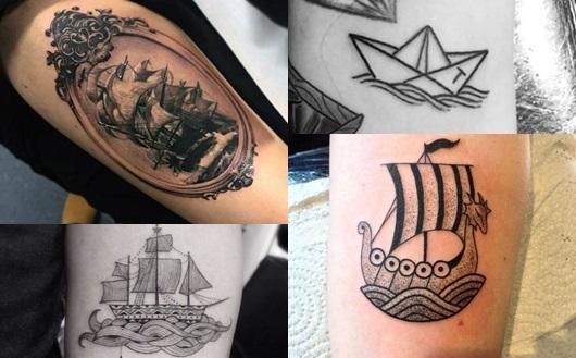 Montagem com quatro tatuagens de navios diferentes