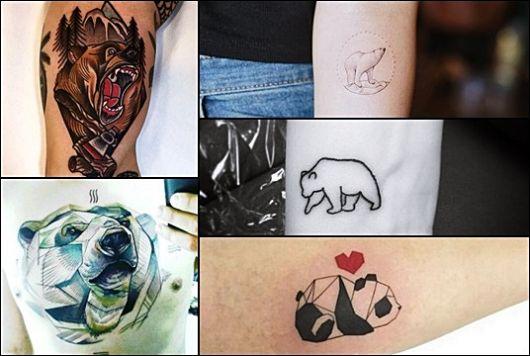 Montagem contendo 5 tatuagens diferentes de urso