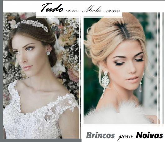 Modelos usam brincos para noivas com penteados e vestidos brancos.