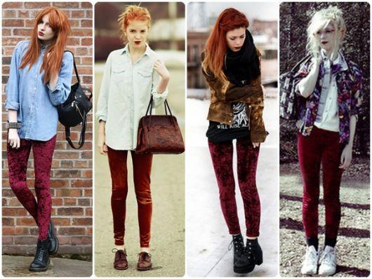 Montagem com varias modelos de calça de veludo vermelha.